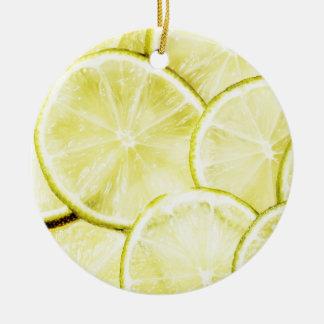 Citron 2 ornement rond en céramique