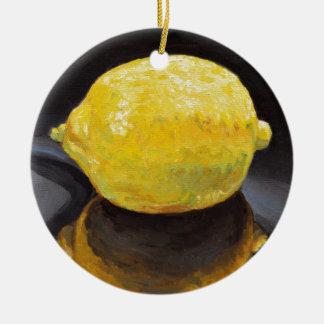 Citron au goût âpre fort et piquant ornement rond en céramique