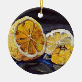 Citron au goût âpre juteux demi ornement rond en céramique