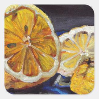 Citron au goût âpre juteux demi sticker carré
