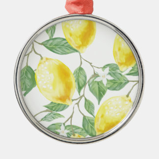 Citron d'aquarelle ornement rond argenté
