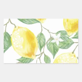 Citron d'aquarelle sticker rectangulaire