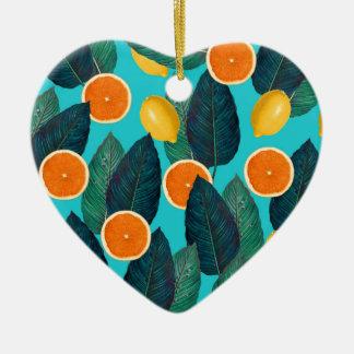citrons et oranges turquoises ornement cœur en céramique