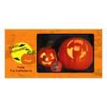 Citrouille de Halloween avec l'arrière - plan affl Modèle Pour Photocarte