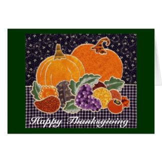 Citrouille de thanksgiving et patchwork d'amis cartes
