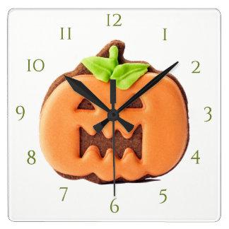 Citrouille d'orange de Gracefull Horloge Carrée