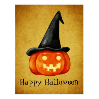 Citrouille heureux de sorcière de Halloween Carte Postale