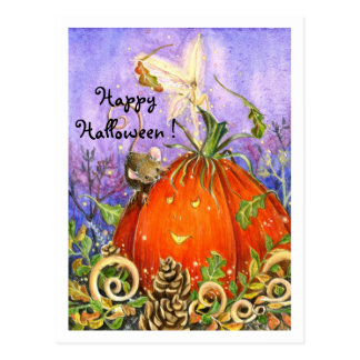 Citrouille magique et petits amis carte postale