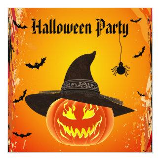 Citrouille mauvais dans le casquette Halloween de Carton D'invitation 13,33 Cm