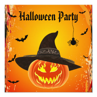Citrouille mauvais dans le chapeau Halloween de Carton D'invitation 13,33 Cm