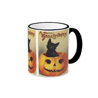 Citrouille mignon de sourire vintage de chat noir  tasse à café