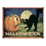 Citrouille vintage et chat de Halloween dans la mo Carte Postale