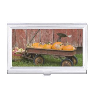 Citrouilles dans le vieux chariot porte-cartes de visite