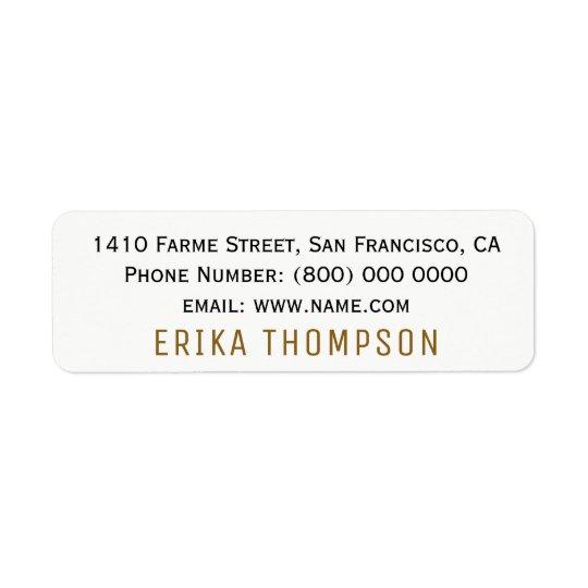 clair de base simple étiquettes d'adresse retour