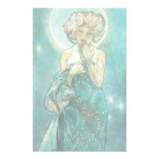 Clair de lune Clair De Lune Art Nouveau d'Alphonse Papier À Lettre Personnalisable