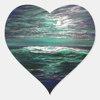 clair de lune de vague de plage sticker cœur