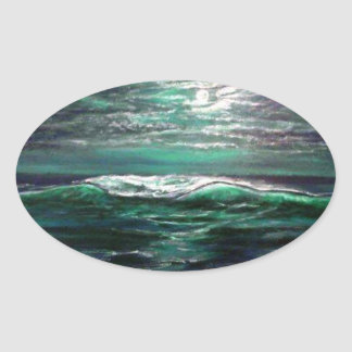 clair de lune de vague de plage sticker ovale