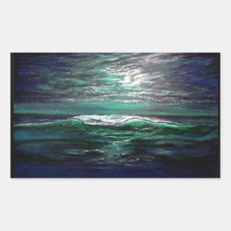 clair de lune de vague de plage sticker rectangulaire