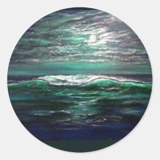 clair de lune de vague de plage sticker rond