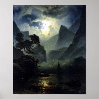 Clair de lune - paysage - Noweigan-fjord Posters