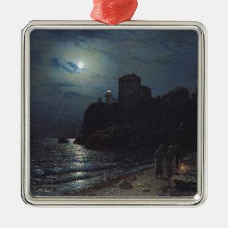 Clair de lune sur le bord d'un lac, 1870 ornement carré argenté