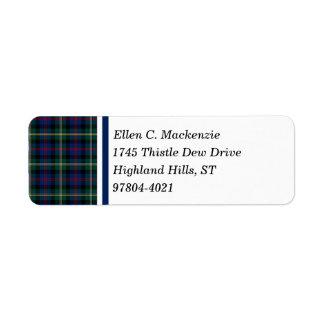 Clan tartan écossais bleu-foncé et vert de Malcolm Étiquette D'adresse Retour