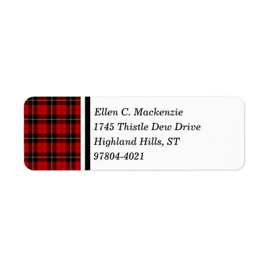 Clan tartan écossais rouge et noir de Wallace Étiquettes D'adresse Retour