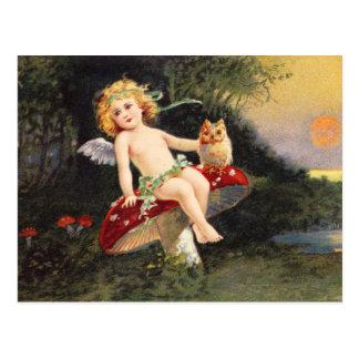 Clapsaddle : Petit ange sur le champignon Carte Postale