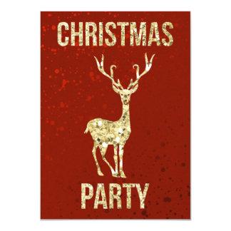 Claret de la fête de Noël   et mâle de renne d'or Carton D'invitation 11,43 Cm X 15,87 Cm