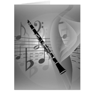 Clarinette avec des accents musicaux carte de vœux grand format