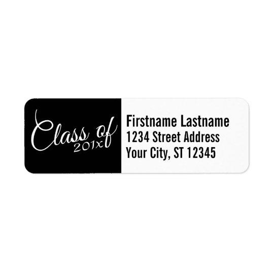 Classe avec d'année faite sur commande et de lycée étiquette d'adresse retour