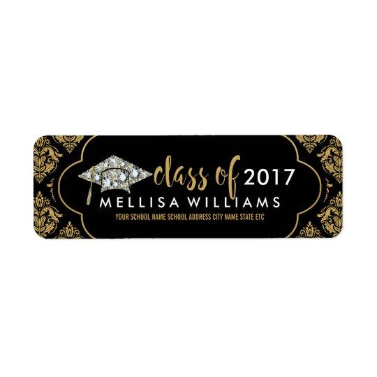 Classe blanche de diamants de 2017 damassés de étiquettes d'adresse retour