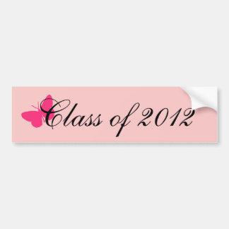 Classe de 2012 - papillon rose autocollant pour voiture