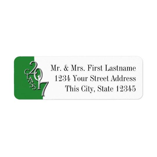 Classe de l'argent 2017 vert d'obtention du étiquette d'adresse retour