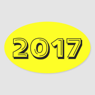 Classe de l'autocollant 2017 ovale jaune par Janz Sticker Ovale