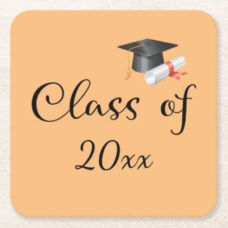 Classe de votre année dessous-de-verre carré en papier