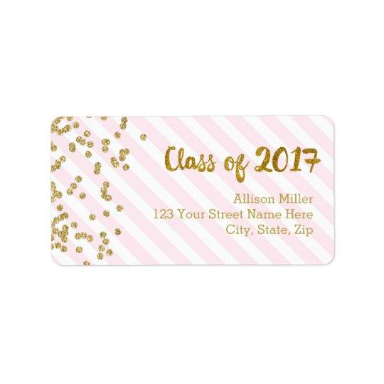 Classe des étiquettes de adresse 2017 de rose d'or