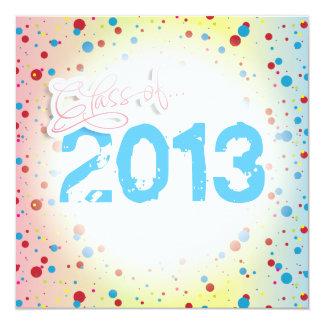 Classe des points 2013 colorés d'amusement carton d'invitation  13,33 cm