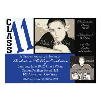 Classe d'obtention du diplôme de 2011/photo bleue carton d'invitation  12,7 cm x 17,78 cm