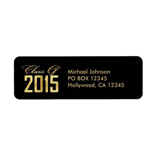 Classe élégante de noir et d'or de 2015 étiquette d'adresse retour