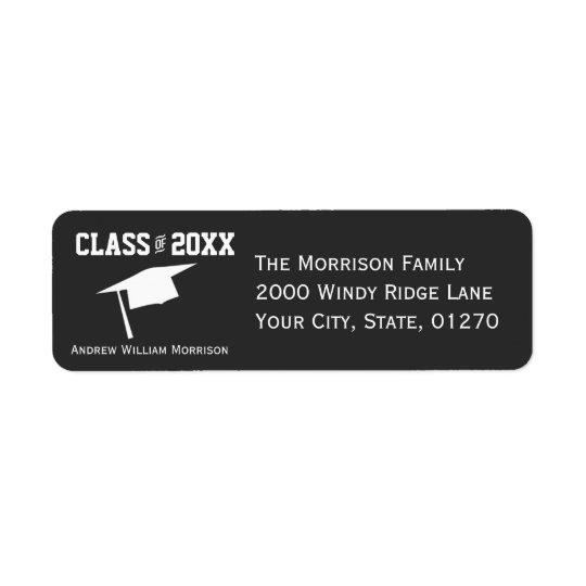 Classe grise simple moderne de casquette étiquettes d'adresse retour