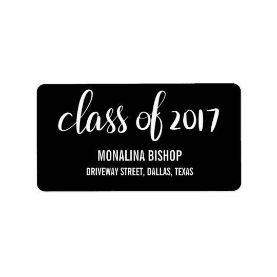 Classe licenciée moderne du noir 2017 de étiquette d'adresse