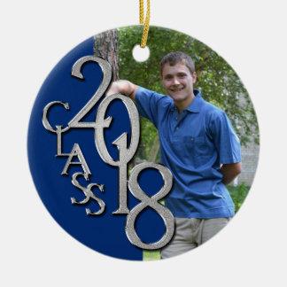 Classe photo licenciée bleue et argentée de 2018 ornement rond en céramique