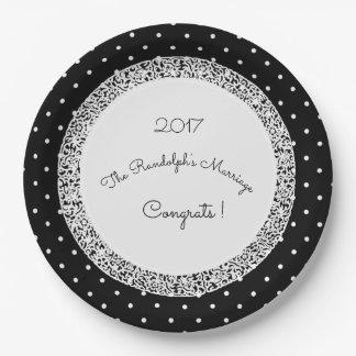 Classic-Polka-Dot-Vintage_Wedding--Modèle-Nom Assiettes En Papier