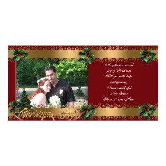 Classique élégant d'or de carte photo de Noël Photocarte