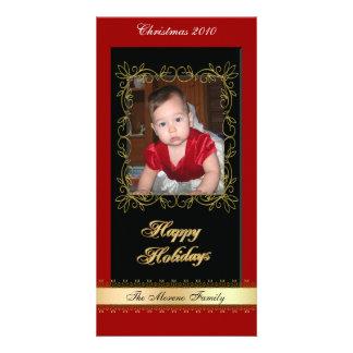 Classique noir rouge d'or de carte photo de Noël Photocarte Personnalisée