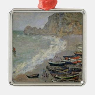 Claude Monet | Etretat, plage et d'Amont de Porte Ornement Carré Argenté