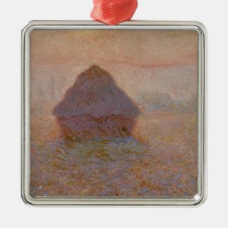 Claude Monet | Grainstack, Sun dans la brume Ornement Carré Argenté