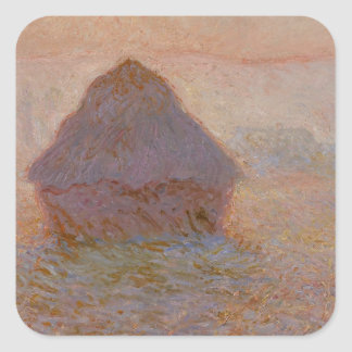 Claude Monet | Grainstack, Sun dans la brume Sticker Carré