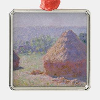 Claude Monet | Grainstacks à la fin de l'été Ornement Carré Argenté